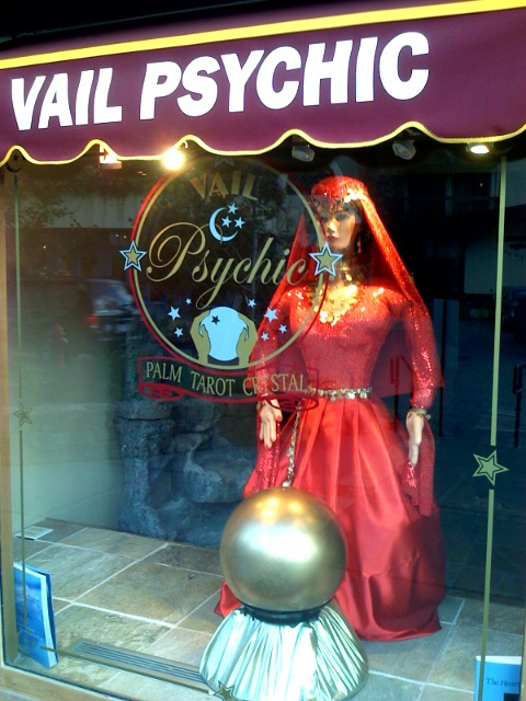 The Vail Psychic Has Man Hands Or At Least Her Body Double In Her Store Window Does