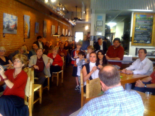 The crowd of poetic rebelrousers at The Garden Cafe last Thursday